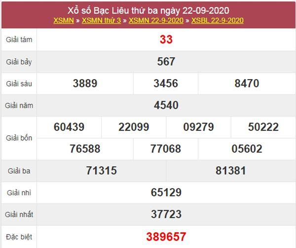 Soi cầu XSBL 29/9/2020 chốt lô Bạc Liêu siêu chuẩn xác